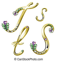 Vector Volume shiny gold alphabet with floral details from diamonds and gems, letters S,T