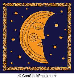 Gold moon on night sky with stars