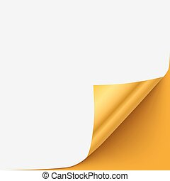 Gold vector paper curled corner template