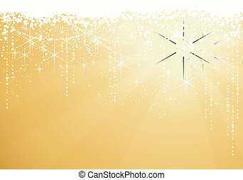 Golden background with sparkling stars for festive occasions. Great as Christmas or New years background.