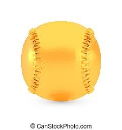 Golden baseball award concept, shiny realistic metallic ball