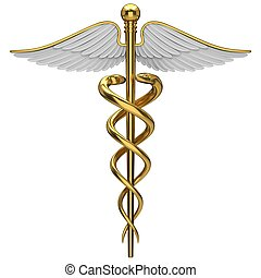 Golden caduceus medical symbol isolated on a white background.