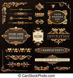 Golden Vintage Calligraphic Design Elements and Page Decoration