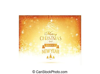 Golden Christmas typography with stars and lights