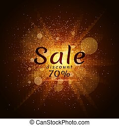 Golden luminous dust on a black background. Sale of 70 percent. Cover sale. Vector illustration