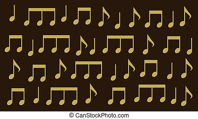 golden musical notes on a dark background