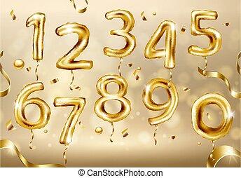 Golden Number Balloons. Vector illustration