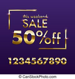 Golden Sale sign template. Vector golden This weekend Sale text with numbers for discount offer isolated on purple background.
