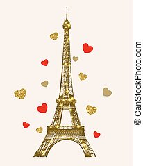 Golden shining Eiffel Tower and hearts