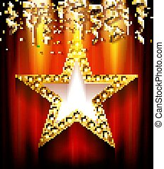 Golden star with blank banner.