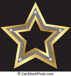 Golden star with diamonds, vector
