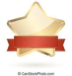 golden star with red banner