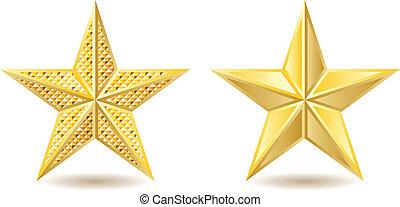 Two shiny golden stars on white background.