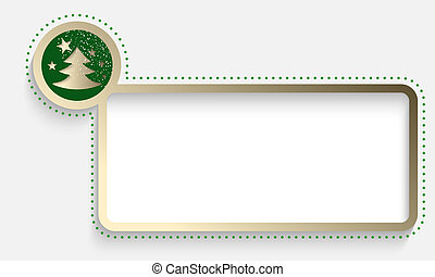 golden text frame with a Christmas motif and falling snow