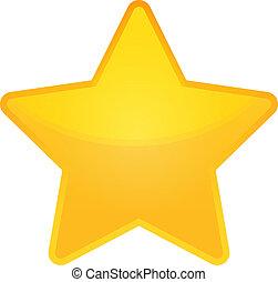 shiny golden star icon on white background, eps 10