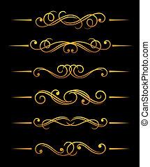 Golden vintage divider elements set for ornate