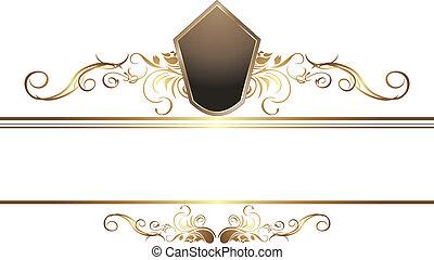 Dark golden vintage element for border. Vector illustration