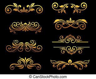 Golden vintage floral elements and borders set for ornate