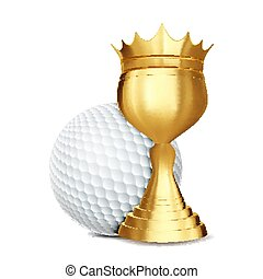 Golf Award Vector. Golf Ball, Golden Cup. Banner Advertising. Sport Event Announcement. Competition Announcement, Game, League Design. Championship Illustration