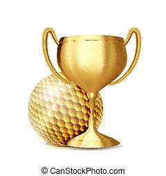 Golf Award Vector. Golf Ball, Golden Cup. Sports Game Event Announcement. Golf Banner Advertising. Professional League. Sport Invitation. Stadium. Event Illustration