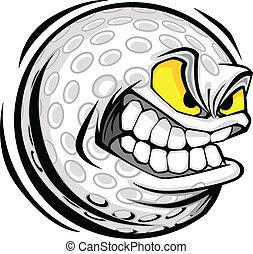 Vector Cartoon Golf Ball with Mean Face