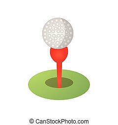 Golf ball icon on red tee, green grass field