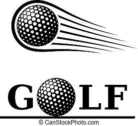 golf ball motion line text symbol
