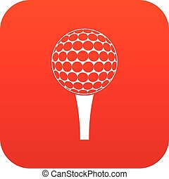 Golf ball on a tee icon digital red