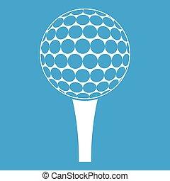 Golf ball on a tee icon white