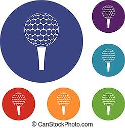 Golf ball on a tee icons set