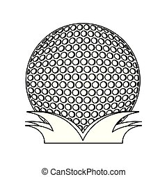 Golf ball on grass black and white