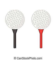Golf ball on red and black tee on white background. Vector illustration.