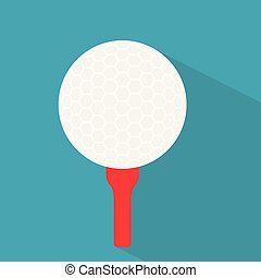 golf ball on red tee icon- vector illustration