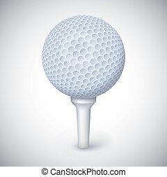 Golf ball on white tee.