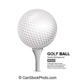 Golf Ball On White Tee. Vector Realistic Illustration Isolated