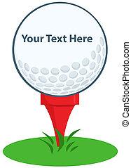 Golf Ball Tee Sign Cartoon Character