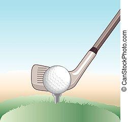 Golf ball teeing off