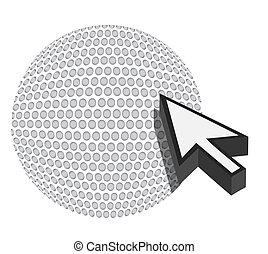 golf ball with cursor arrow - sport