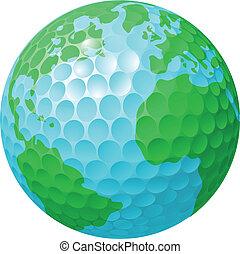 Golf ball world globe concept