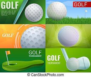 Golf banner set, cartoon style