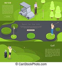 Golf banner set, isometric style