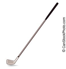 single golf club on white background with shadow