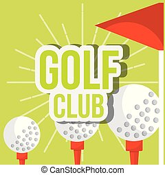 golf club three ball on tee red flag