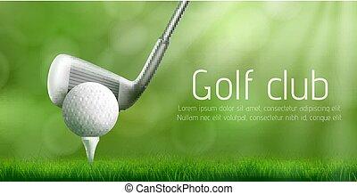 Golf club tournament realistic vector banner