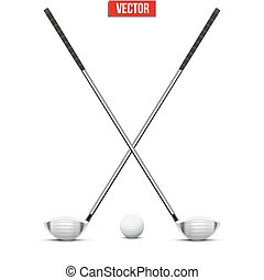 Golf clubs and ball. Vector.