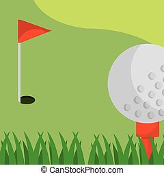 golf field red flag ball on tee