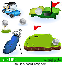 Collection of golf color icons, grouped separately and isolated on white background.