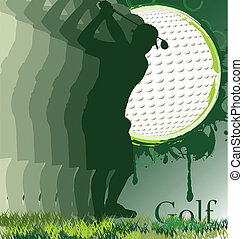 Golf poster with player silhouette