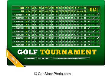 Golf scoreboard, vector illustration with golf ball on background