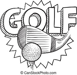 Doodle style golf illustration in vector format. Includes text, club, and golf ball.